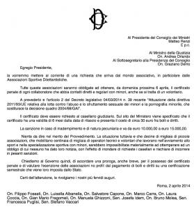 La lettera inviata a Matteo Renzi