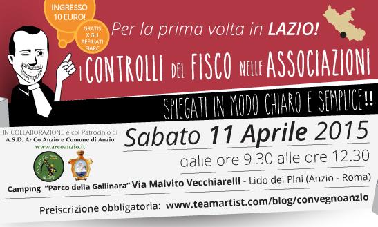 Sabato 11 aprile 2015 ad ANZIO (Roma) convegno sui Controlli Fiscali nelle Associazioni