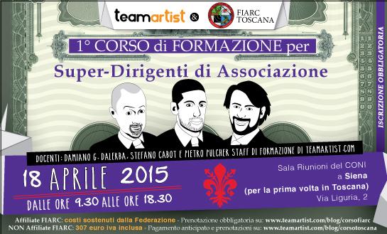 Il primo corso in TOSCANA per SUPER Dirigenti di Associazione di TeamArtist