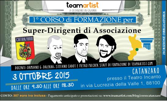 3 Ottobre 2015: Corso a CATANZARO per Super Dirigenti di Associazione di TeamArtist