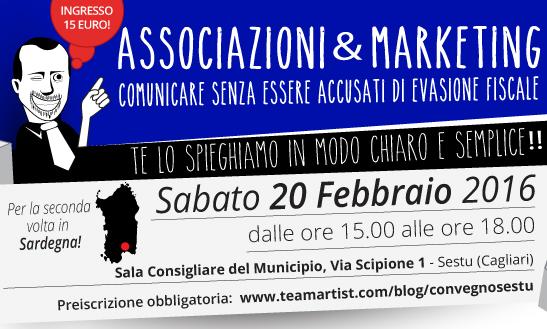 """Il 20 Febbraio 2016 a Cagliari convegno su """"Marketing & Associazioni: comunicare senza essere accusati di evasione fiscale"""""""