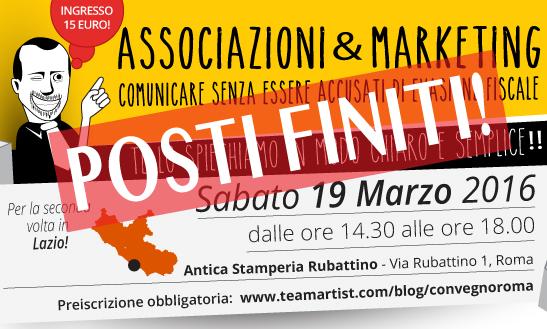 """Il 19 Marzo 2016 a Roma convegno su """"Marketing & Associazioni: comunicare senza essere accusati di evasione fiscale"""""""