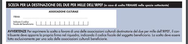 Esercitare opzione 2 per mille Associazione Culturale