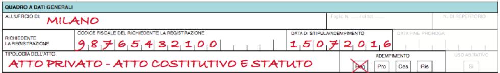 Quadro A Modello 69 registrazione Statuto Associazione No Profit