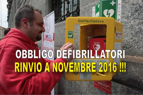 Obbligo di Defibrillatori per l'Associazionismo sportivo: prorogata a novembre 2016 l'entrata in vigore