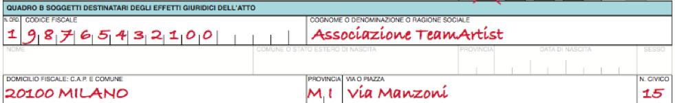 Quadro B Modello 69 registrazione Statuto Associazione No Profit