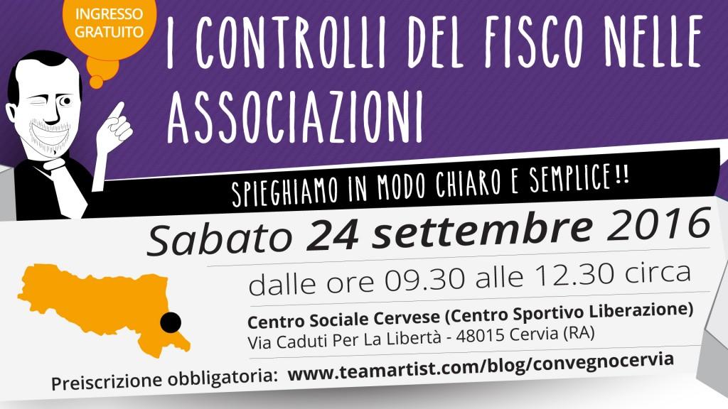 Sabato 24 Settembre 2016 a Cervia (RA) convegno su I Diritti e i Doveri delle Associazioni durante i controlli fiscali