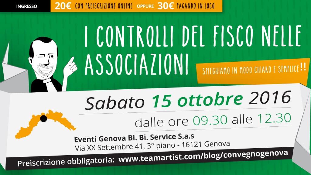 Sabato 15 Ottobre a Genova (GE) convegno sui Controlli del Fisco nelle Associazioni
