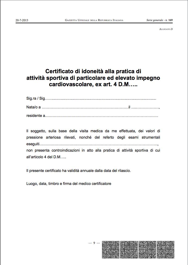 Certificato di idoneità alla pratica di attività sportiva di particolare ed elevato impegno cardiovascolare, ex art. 4 D.M…..