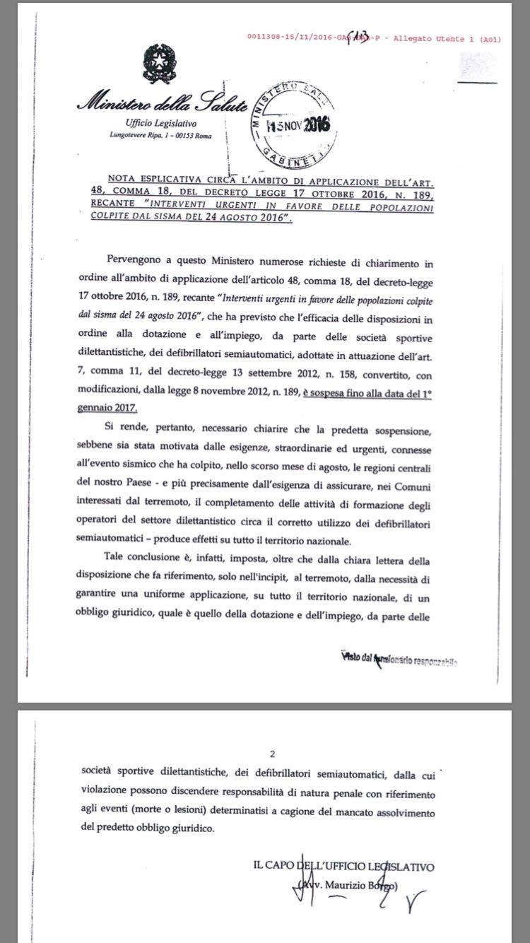 """Nota Esplicativa circa l'ambito di applicazione dell'art. 48 comma 18 del Decreto Legge 17 Ottobre 2016 n°189 recante """"Interventi urgenti in favore delle popolazioni colpite dal sisma del 24 agosto 2016"""""""
